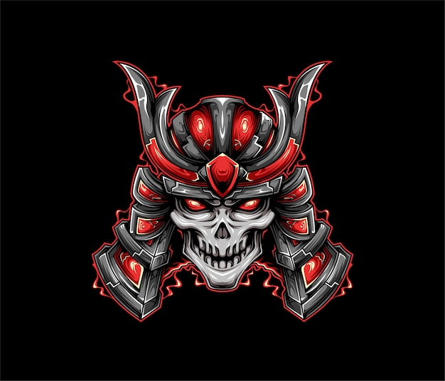 Cráneo samurai ilustración estilo geométrico