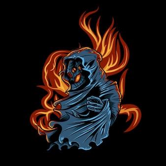 El cráneo del segador arde en fuego
