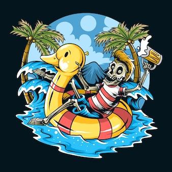 Cráneo sentado en pato flotante relajante disfrutando de la playa