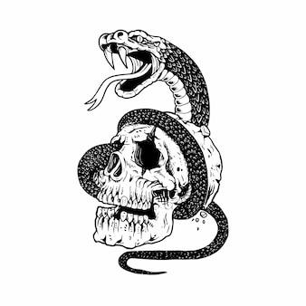 Cráneo y serpiente