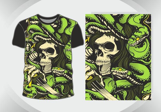Cráneo con serpientes para ilustración y camiseta