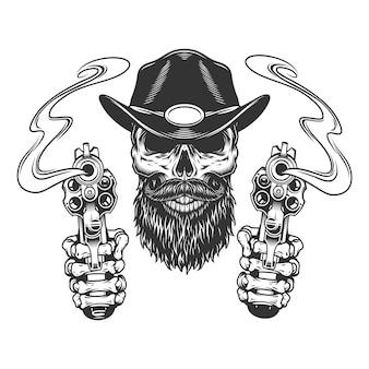 Cráneo de sheriff barbudo y bigote vintage