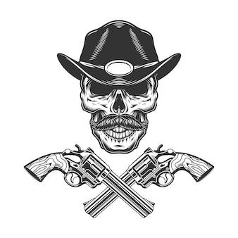 Cráneo de sheriff bigotudo monocromo vintage