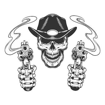 Cráneo de sheriff monocromo vintage