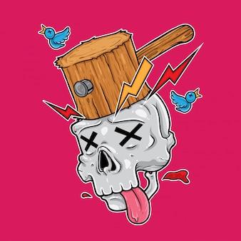 Cráneo siendo golpeado por un martillo de madera