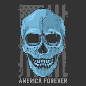 Cráneo simple grunge america usa bandera artículo vector