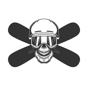 Cráneo de snowboarder en casco y máscara