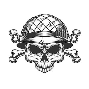 Cráneo de soldado monocromo vintage en casco