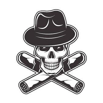 Cráneo con sombrero de gángster y dos puros cruzados ilustración en monocromo sobre fondo blanco.