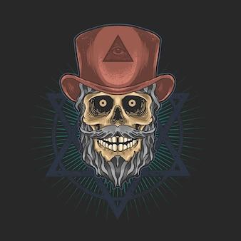Cráneo con sombrero gráfico de ilustración de masonería