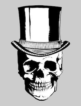 Cráneo con sombrero mano dibujo ilustración vectorial