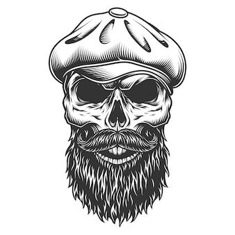 Cráneo en el sombrero de tweed.
