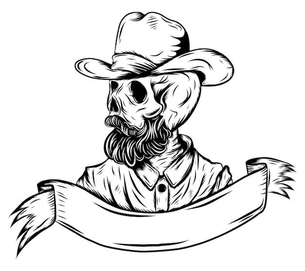 Cráneo en el sombrero de vaquero de la ilustración