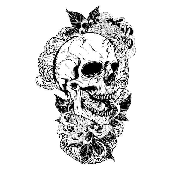 Cráneo con tatuaje de crisantemo a mano