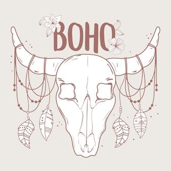 Cráneo de toro nativo con plumas y flores boho e ilustración tribal