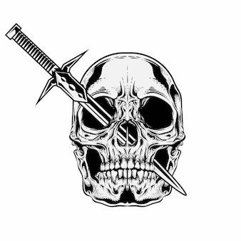 Cráneo único con espada en los ojos.