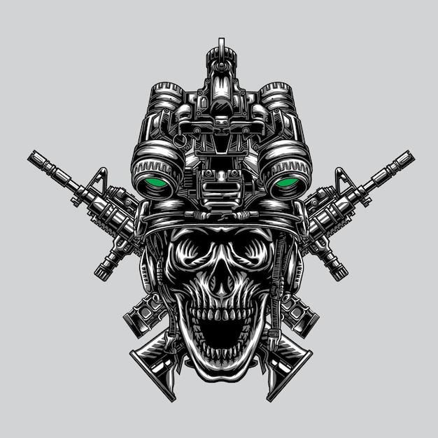 El cráneo usa un casco táctico especial y armas.