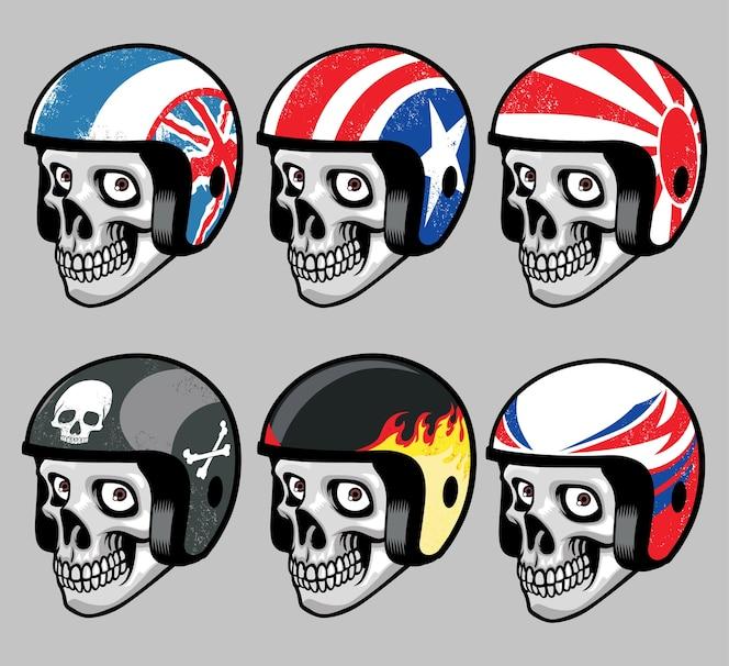 Cráneo usando varios casco retro