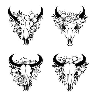 Cráneo de vaca con cuernos decorado con flores.