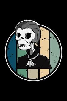Cráneo de vampiro ilustración retro vintage