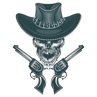 Cráneo de un vaquero bigotudo con pistolas