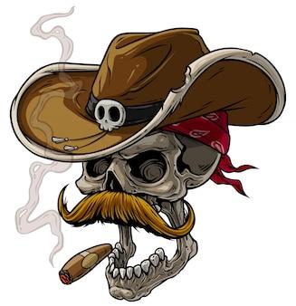 Cráneo de vaquero de dibujos animados con sombrero, bigote y cigarro