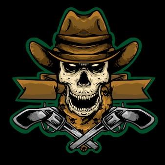 Cráneo vaquero con pistola mascota diseño logo ilustración