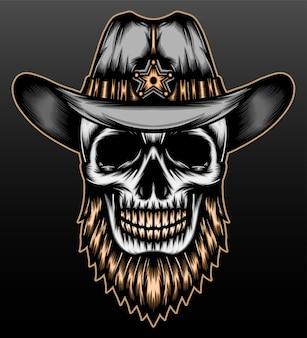 Cráneo de vaquero salvaje aislado en negro