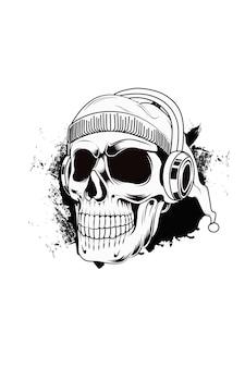 Cráneo con vector de dibujo a mano de auriculares