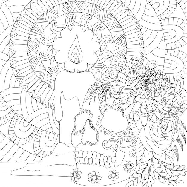 Cráneo y vela, tema happy halloween. ilustración