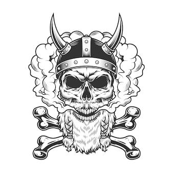 Cráneo vikingo con barba y bigote