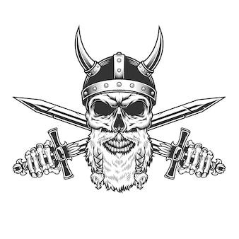 Cráneo vikingo barbudo monocromo vintage