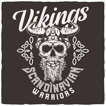 Cráneo vikingo en un casco.