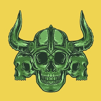 Cráneo vikingo en casco
