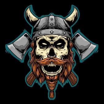 Cráneo vikingo con hacha mascota diseño ilustración logo