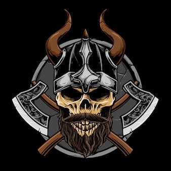 Cráneo vikingo con ilustración de arma