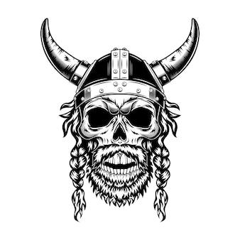Cráneo vikingo en la ilustración de vector de casco con cuernos. cabeza monocromática de guerrero escandinavo con barba y novias