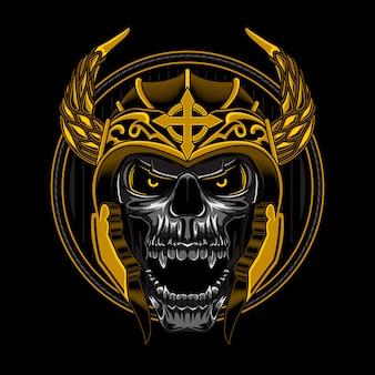 Cráneo vikingo ilustración vectorial enojado