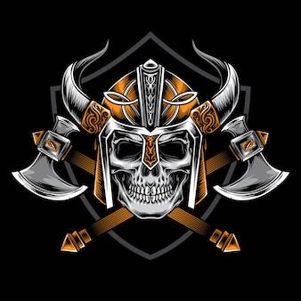 Cráneo vikingo con vector de hacha