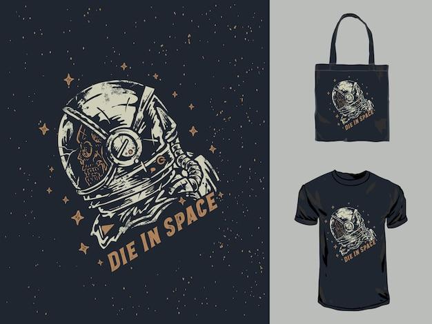 Cráneo vintage astronauta dibujado a mano ilustración