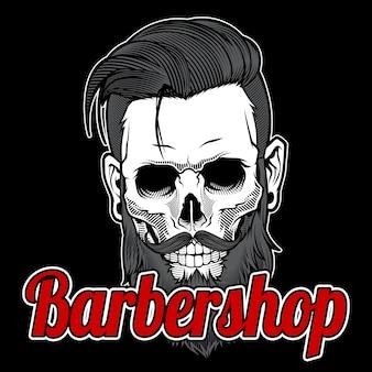 Cráneo vintage barber shop logo design