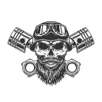 Cráneo vintage biker monocromo