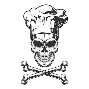 Cráneo vintage en gorro de cocinero