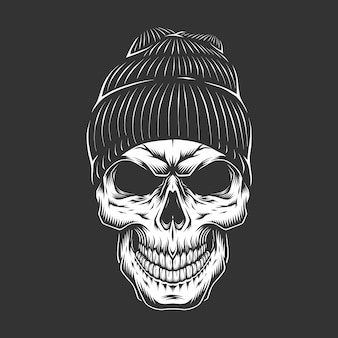 Cráneo vintage monocromo en sombrero hipster