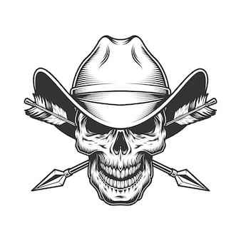 Cráneo vintage en sombrero de vaquero
