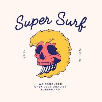 Cráneo vintage y vector de diseño de la palabra
