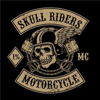 Cráneo volador con llave adecuada para logotipo de servicio de club de motos o garaje