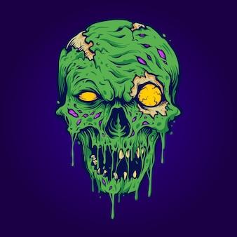 Cráneo, zombi, aislado, ilustraciones