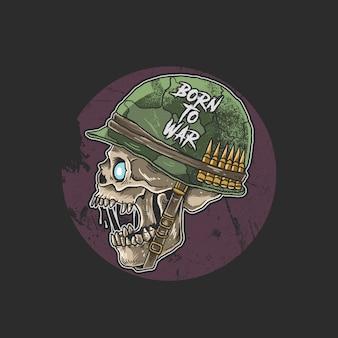 Cráneo zombie con casco de soldado