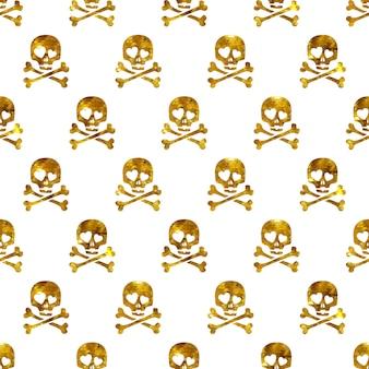 Cráneos de brillo dorado en el amor de patrones sin fisuras.
